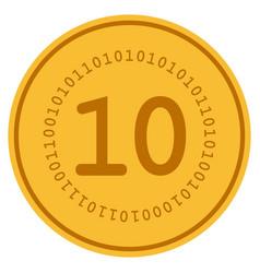 ten digital gold coin vector image vector image