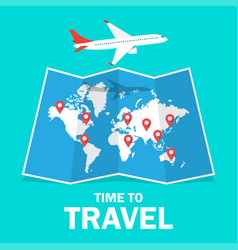 Travel and tourism airplane flying above the map vector