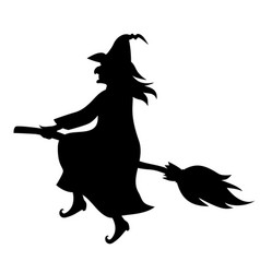 witch on broom fly silhouette vector image