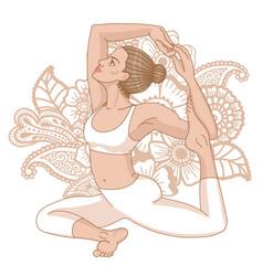 women silhouette mermaid yoga pose eka pada raja vector image vector image
