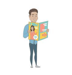 Young hispanic businessman reading magazine vector
