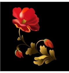 Flower element on black background vector