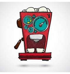 Hand drawn coffee machine vector