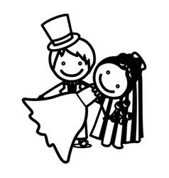 sketch silhouette couple wedding icon vector image