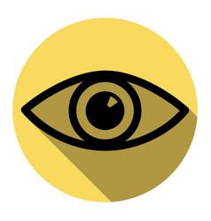 eye sign flat black icon vector image