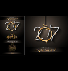 2017 happy new year restaurant menu template for vector