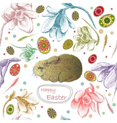 Seamless pattern with easter eggs and rabbit vector