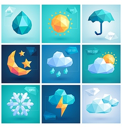 weather hipster icons vector image