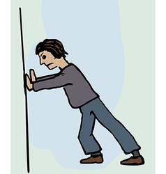 A man pushing against a wall vector