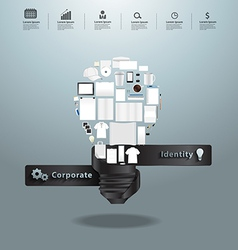 Corporate identity templates with light bulb idea vector
