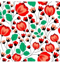 Retro seamless pattern with red poppies vector