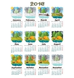 Calendar 2016 nature vector