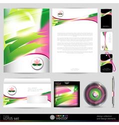 Lotus blossom template business set Design vector image