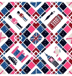 Seamless pattern argyle and english symbols vector