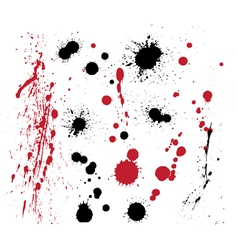 Set of black and red splashes vector