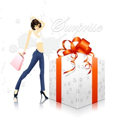 glamour girl with gift box vector image