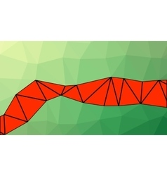 Abstract green and red gradient lowploly of vector