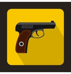 Pistol military weapon icon flat style vector