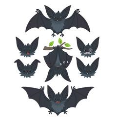 Bat in various poses flying hanging grey bat vector
