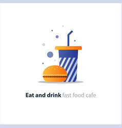 burger and high blue tumbler glass with straw fast vector image