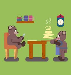 Cartoon brown bears prepares pancakes vector