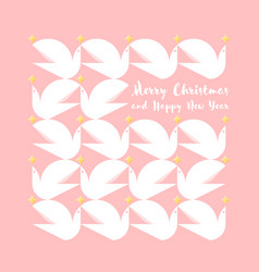 Christmas card with greetings and pattern of doves vector