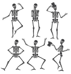 dancing skeletons different skeleton poses vector image