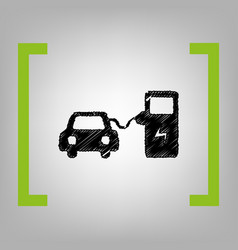 Electric car battery charging sign black vector