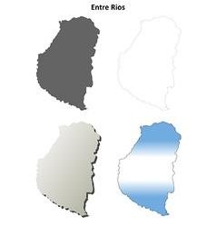 Entre rios blank outline map set vector