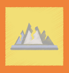 flat shading style icon cracks mountains vector image
