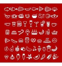Food icons red vector