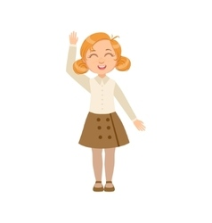 Girl in brown skirt and vest happy schoolkid in vector