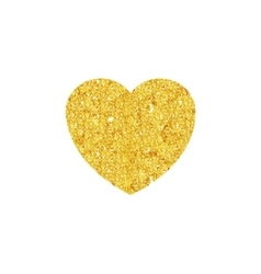 Gold Valentines heart sparkles on white background vector image