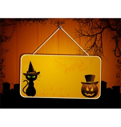 Halloween sign on wood vector image