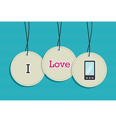 Hanging smart phone badges vector