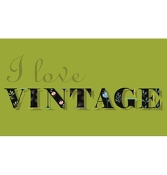I love vintage unusual font vector