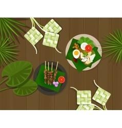Ketupat lebaran idul fitri ied food indonesia vector