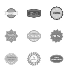 Label set icons in monochrome style Big vector image