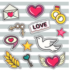 love and wedding patch vector image vector image