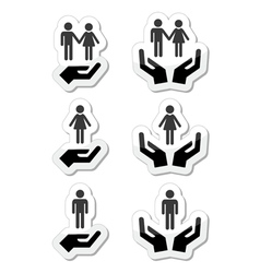 Man woman and couples with hands icons set vector image