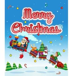 Merry christmas card with santa on train vector