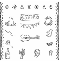 Mexican hand drawn icons set vector image