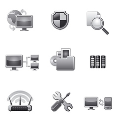 network icon set grey vector image vector image