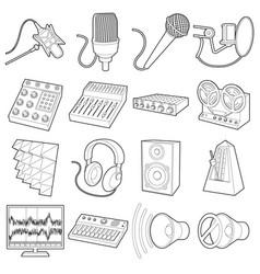 Recording studio symbols icons set outline style vector