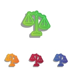 Scales of Justice sign Colorfull applique icons vector image vector image
