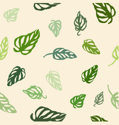 seamless pattern of colorful leaves monstera vector image vector image