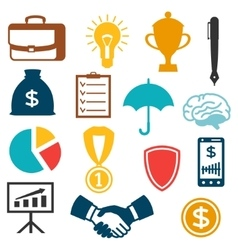 Set of business and finance flat icons vector image vector image