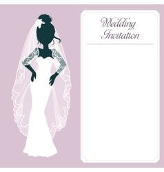 Silhouette Bride And Invitation vector image