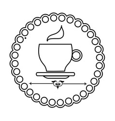 Silhouette elegant border with coffee cup vector