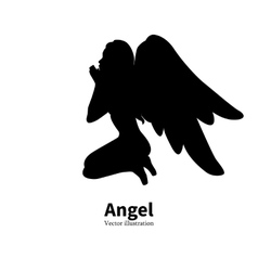 silhouette girl with angel wings praying vector image